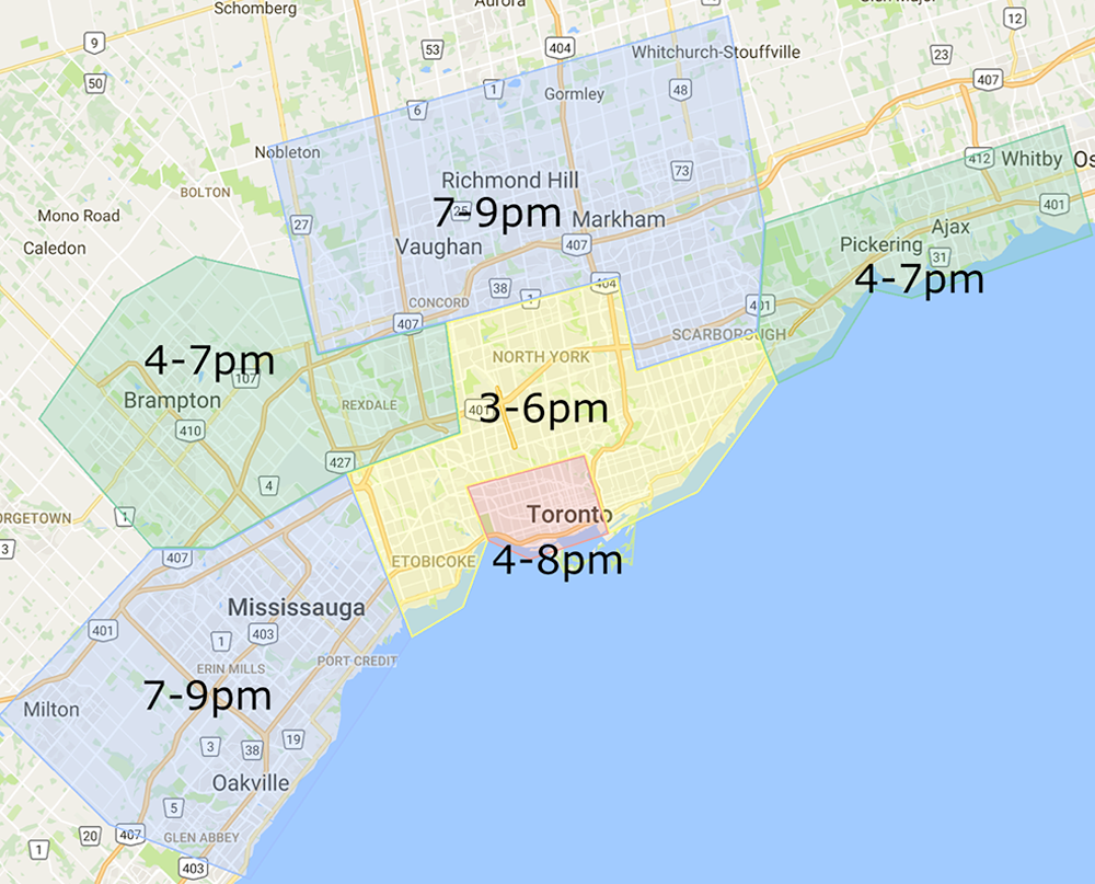 Evening Delivery Zone and Times