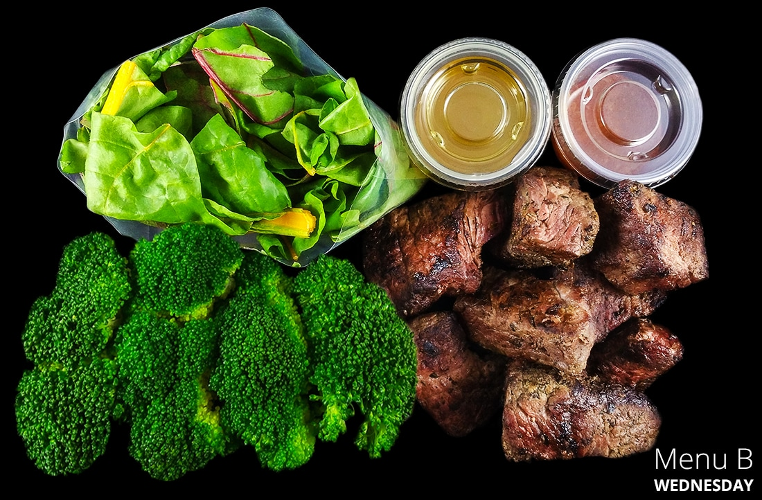 Steak, seasonal greens and leafy seasonal greens. Served with one of our own sauces and one of our own vinaigrettes.